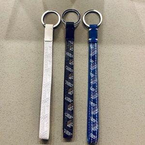 Set of 3 White Blue Black Goyard Key Chain Rings